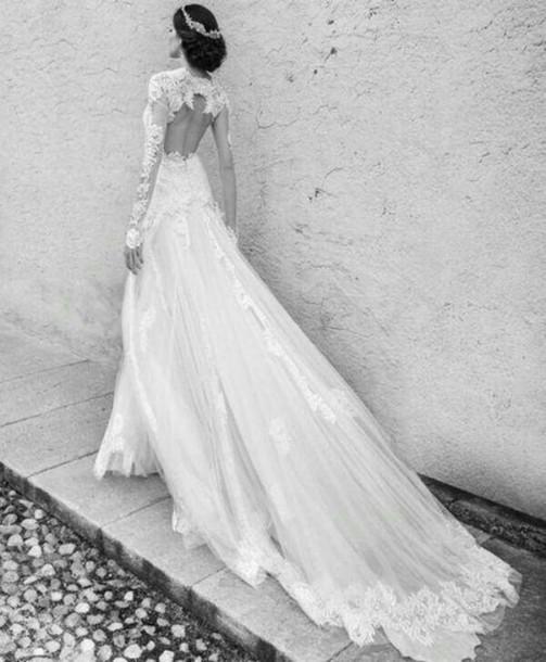 dress wedding dress long dress long sleeve dress white dress wedding gown lace bridal