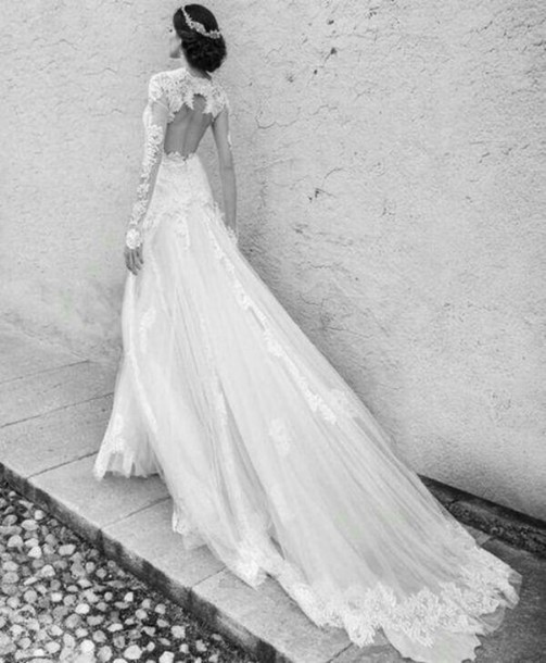 dress wedding dress long dress long sleeve dress white dress