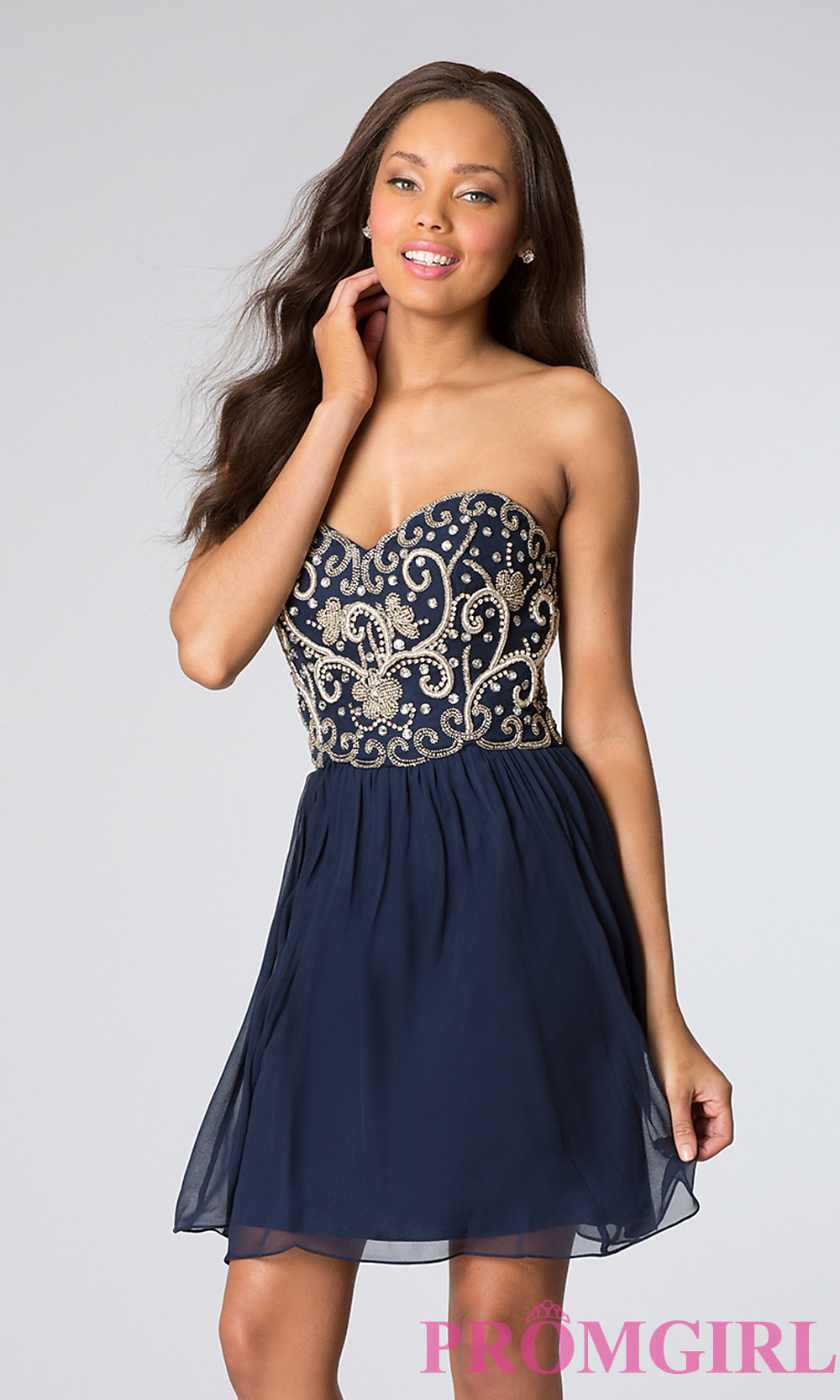 Strapless Blue Cocktail Dress by Sean