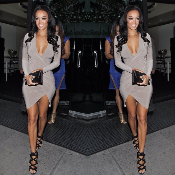 sugarpopped draya michele dress heels draped dress worn by draya michelle in gray