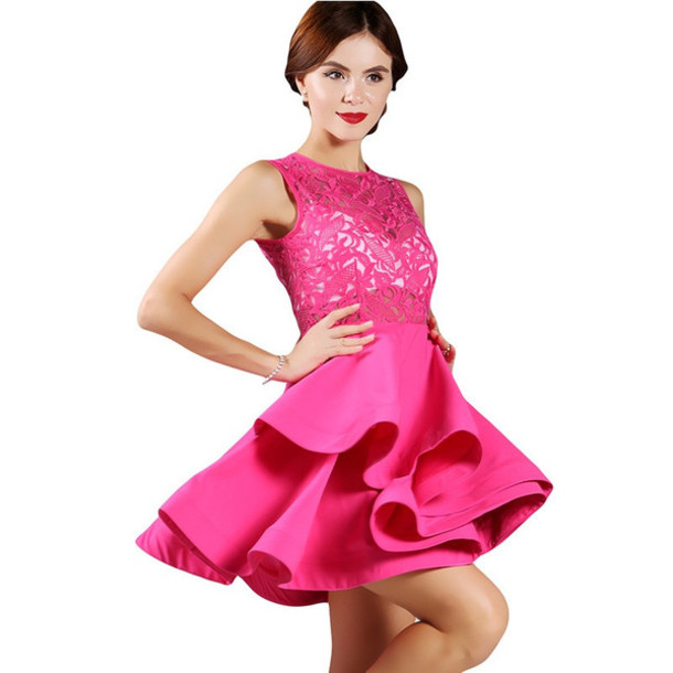Dress: lace, rose bud, rose, pink party dress, wots-hot-right-now ...