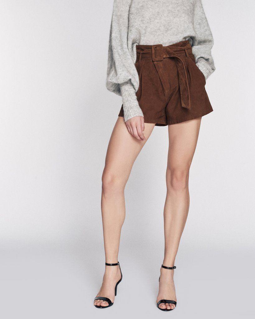 Levi Suede Shorts in Cognac