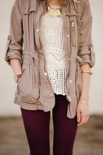 fall outfits parka beige jacket fall colors knitted sweater crochet skinny pants burgundy arm bracelet