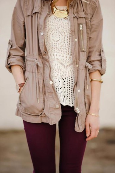 jacket tan pants jewels zip up zipper pockets buttons drawstring waist shirt outfit clothes look gorgeous beautiful cute girl woman lovely summer utility jacket lace jeans blouse nude beige sweater cream crochet white crochet top zippers burgundy leggings beige military jacket military jacket brown jacket