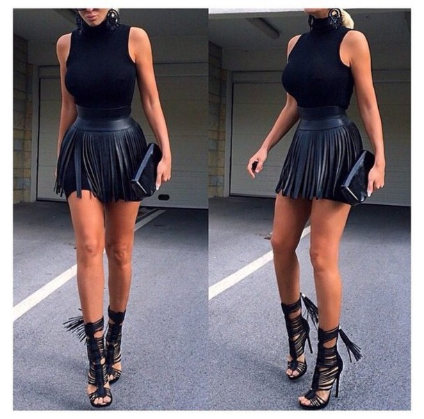 Hot two pieces tassel dress