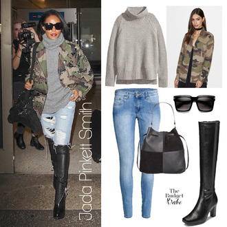 thebudgetbabe blogger jacket sweater jeans dress shoes bag military style army green jacket camo jacket camouflage grey sweater boots knee high boots