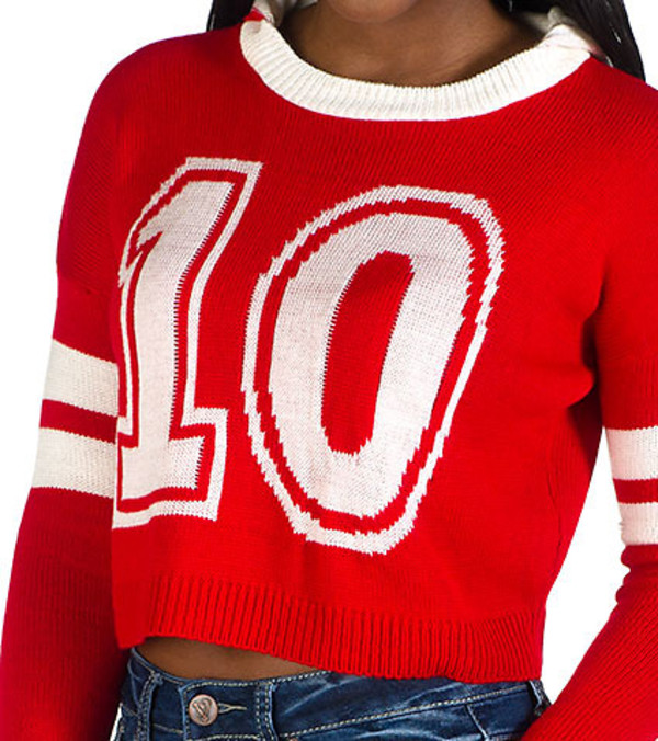 sweater red and white cropped long sleeve