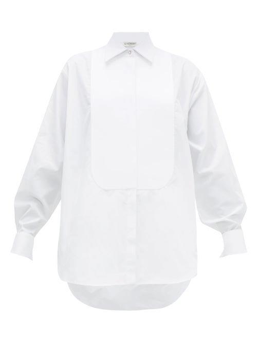 Givenchy - Bib Front Crystal Button Cotton Tuxedo Shirt - Womens - White