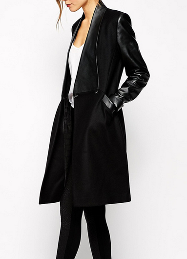 Black leather trench long coat cotton blogger parka jacket elegant
