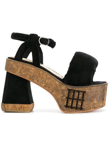 Bernhard Willhelm women sandals leather black silk velvet shoes