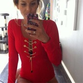 underwear,bodycon,lace up,bodysuit,jumper,long sleeves,long sleeve bodysuit,lace up top,red,red top,red shirt,red blouse,clubwear,clubbing top,party top,sexy,sexy party top,sexy top,sexy tops,black longsleevedbodycon,lace top,chain,hollow out bodysuit,hollow out top,hollow out,strappy,long sleeves top,sexy bodycon top,lace up blouse,fashion toast,fashion vibe,fashionista,fashion,fashion is a playground,urban,urban outfit,urban outfitters,tight,bodycon top,body-con top,blouse,jumpsuit,romper,28719,top