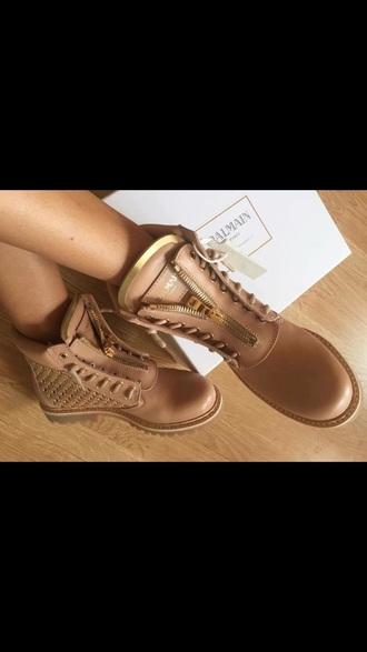 shoes balmain flat boots nude