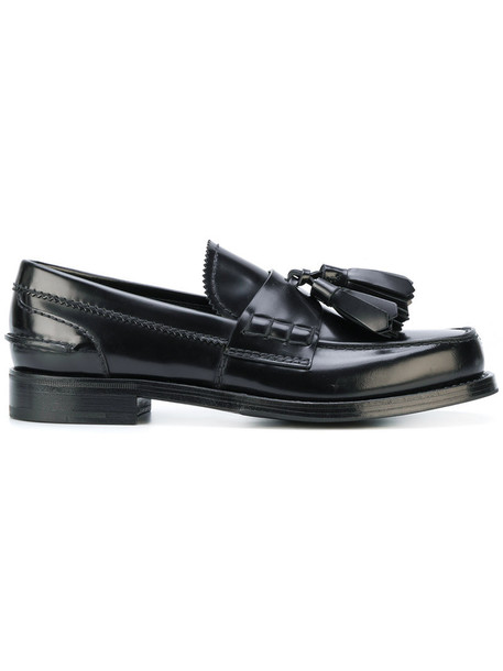 Prada tassel women loafers leather black shoes