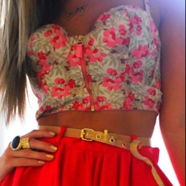 shirt bustier floral pink flowers skirt