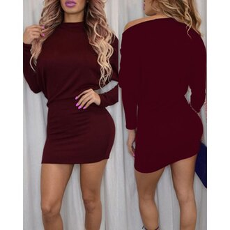 dress burgundy burgundy dress stylish fashion pink lipstick date outfit rosegal sexy