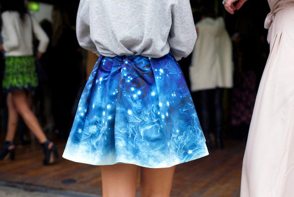 fade skirt ombre skirt galaxy skirt printed skirt blue skirt