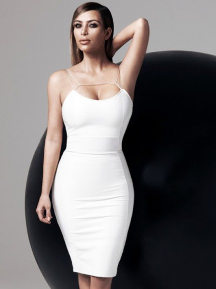 classy sexy dress pretty dress curvy white dress bodycon dress party sexy kim kardashian all white everything night out straight hair long dress white girl nude lipstick nude lips smokey eyes
