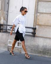 shoes,high heel sandals,strappy sandals,black shorts,white blouse,sunglasses,earrings