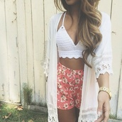 crochet crop top and floral shorts,cardigan,soft ghetto,blouse,flowers,top,white tank crop-top,white,cream,kimono,lace cami,shall,crochet,black and white,boho,high waisted,love is in the air,shirt,crop tops,lace top,sweater,boho chic,spring,summer,lace up,shorts,flowered shorts,pink,coral,kimono lace white,crochet crop top,hippie top,jacket,indie boho