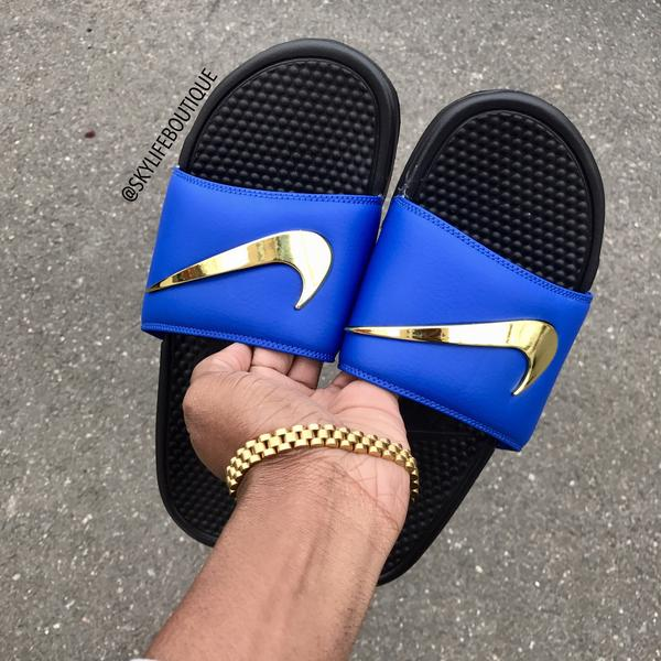 146111f9e601 Blue Nike Benassi Swoosh Golden Check Slides