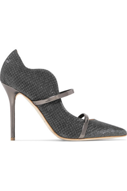 MALONE SOULIERS metallic mesh pumps leather shoes