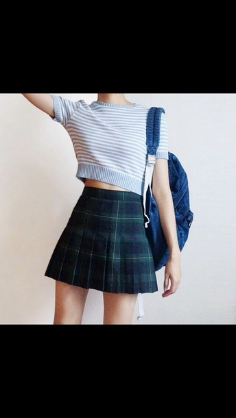 skirt top crop light blue tartan checkered checkered skirt plaid pleated skirt plaid skirt back to school