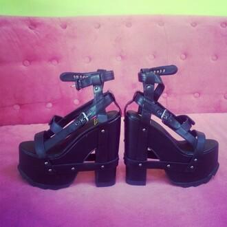 shoes zooshoo pumps heels platform pumps black cute edgy bold wild yru