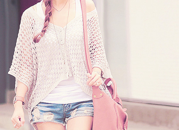 braid sweater cute purse watch outfit shorts fashionable jewelry off the shoulder