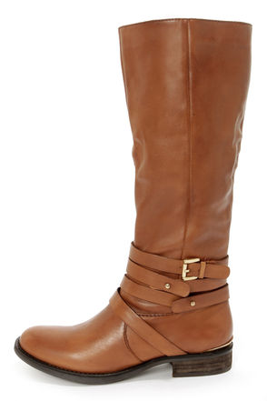 Steve Madden Albany Cognac Leather Belted Riding Boots - $189.00