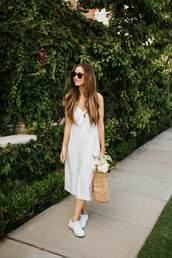 dress,midi dress,white dress,sneakers,sunglasses,bag