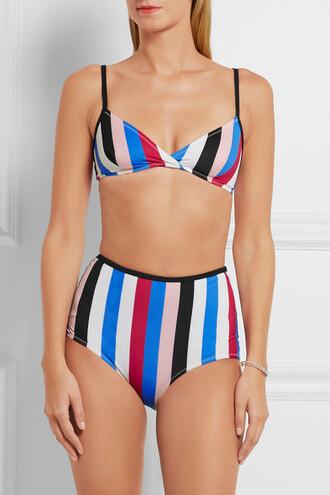 swimwear bikini high waisted bikini striped bikini stripes colorblock
