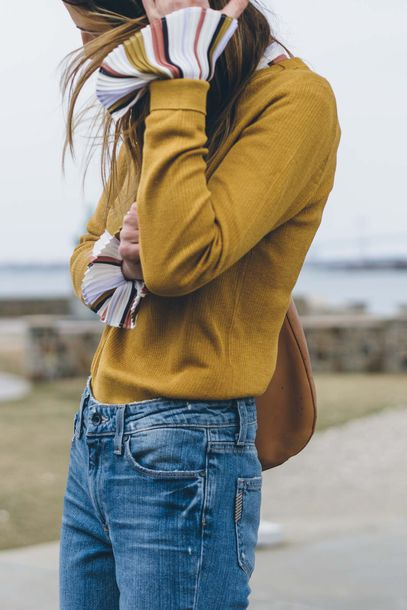 Sweater tumblr yellow yellow sweater mustard denim jeans blue jeans bell sleeves fall ...