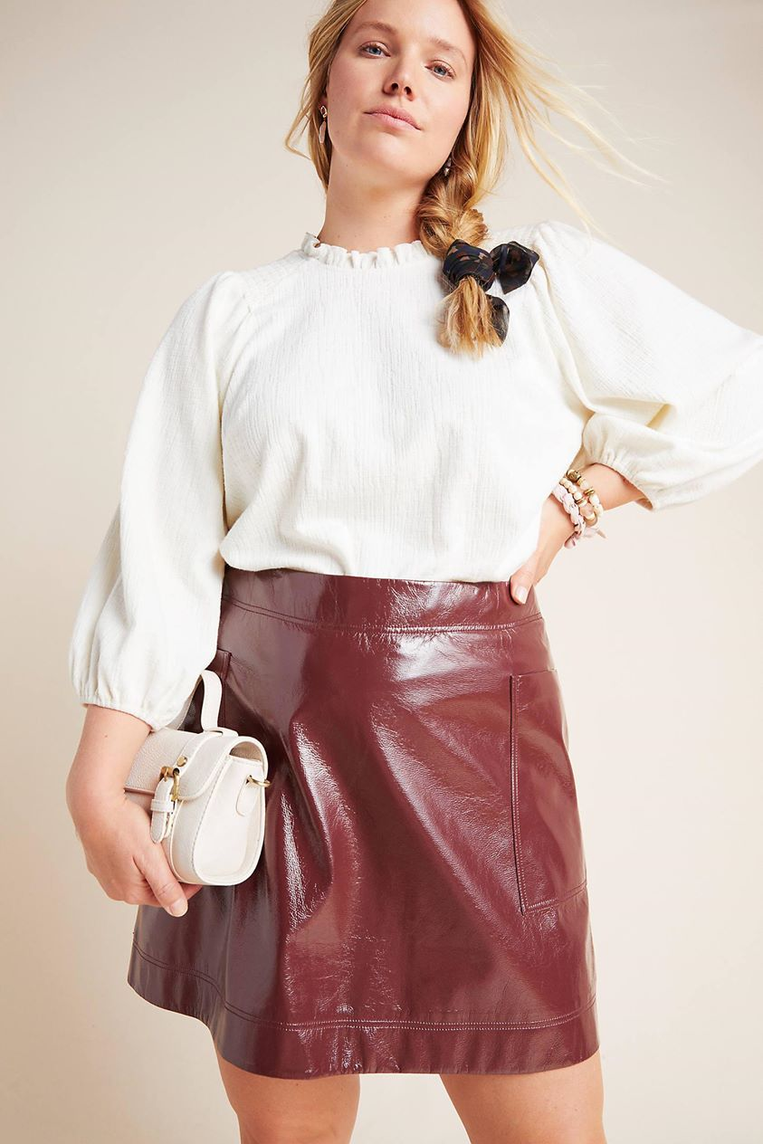 Faux Patent Leather Skirt by Maeve in Purple
