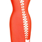 Asymmetrical lace up slit midi bandage dress orange