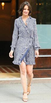 dress,katie holmes,wrap dress,mini dress,celebrity,sandals,sandal heels,long sleeve dress