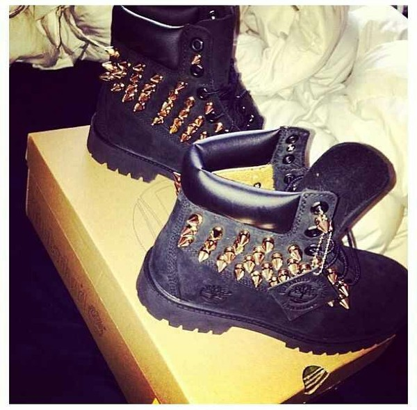 shoes spike boots fashion timberlands black