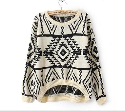 Girls geometric pattern knitted sweater