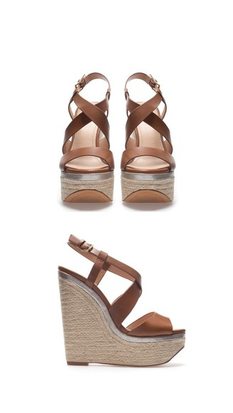 shoes tan leather wedge wedges heel high heels brown strap strappy espadrilles cross over