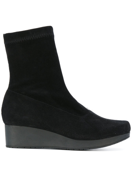 Robert Clergerie women leather suede black shoes