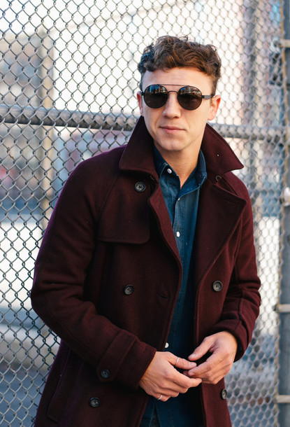 scout sixteen menswear blogger sunglasses denim shirt mens coat coat shirt