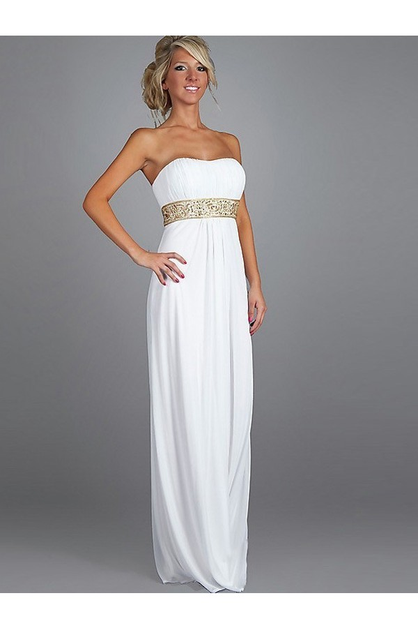 A-line Empire Strapless Sleeveless Chiffon White Evening Gowns With Beaded