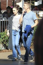 jeans,lily collins,stripes,spring outfits,streetstyle,fluffy nike slides,slide shoes,shoes