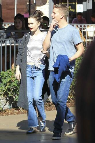 jeans lily collins stripes spring outfits streetstyle fluffy nike slides slide shoes shoes