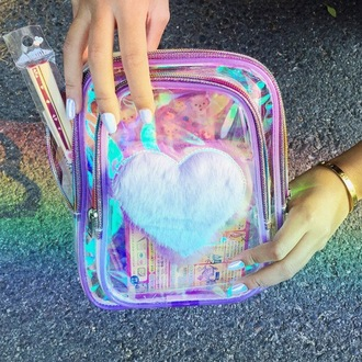 bag iridescent holographic holographic bag hippie hipster style fashion purse stylish colorful pink red dress red yellow love cute kawaii
