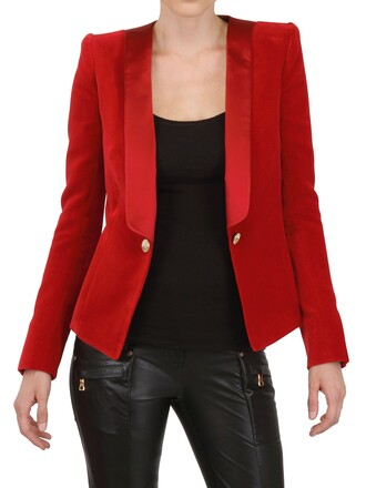 jacket cotton silk velvet satin red