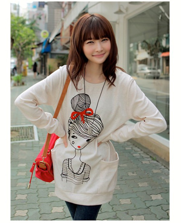 Maternity dresses korean version of cute little girls printed casual women shirt Korean style fashion girl bag