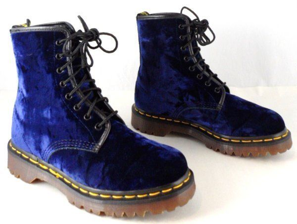 rare vtg doc dr martens boots uk 5 us 7 7 5 blue crushed velvet w green ebay. Black Bedroom Furniture Sets. Home Design Ideas