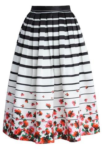skirt chicwish chicwish.com printed midi skirt midi skirt roses skirt striped skirt
