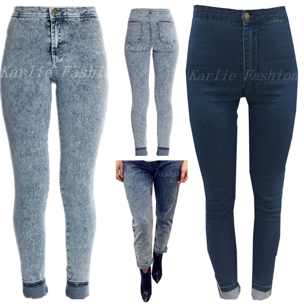 Womens High Waisted Skinny Jeans Classic Acid Wash Denim Jean