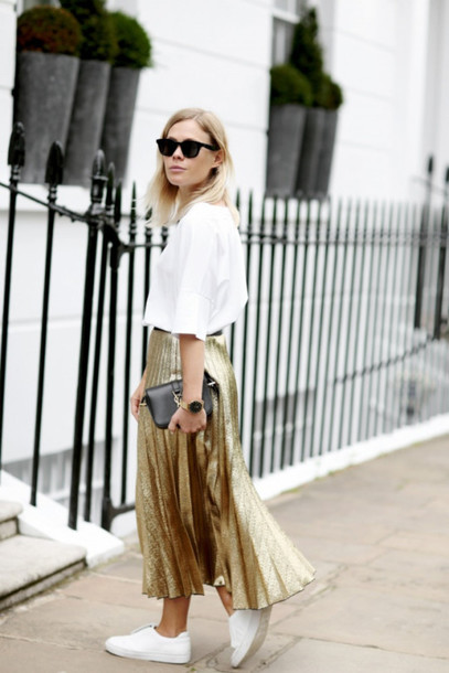 Skirt: pleated skirt, midi skirt, gold, metallic, pleated ...